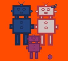 Retro robot family Kids Tee