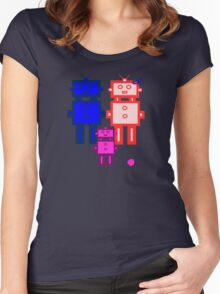 Retro robot family Women's Fitted Scoop T-Shirt