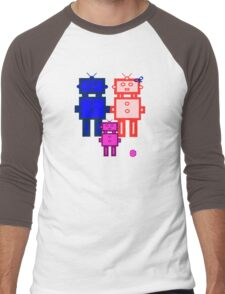 Retro robot family Men's Baseball ¾ T-Shirt