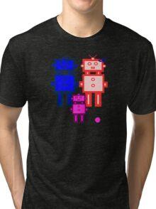 Retro robot family Tri-blend T-Shirt