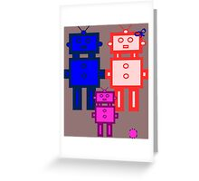 Retro robot family Greeting Card