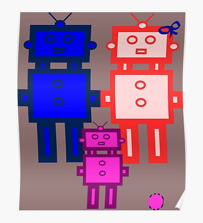 Retro robot family Poster