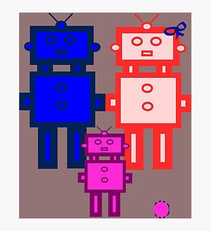 Retro robot family Photographic Print