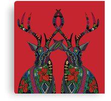 poinsettia deer red Canvas Print