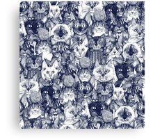 CHRISTMAS CATS blue Canvas Print