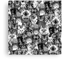 CHRISTMAS CATS black & white Canvas Print