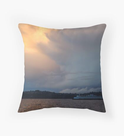 Rolling Storm and Ferry Throw Pillow