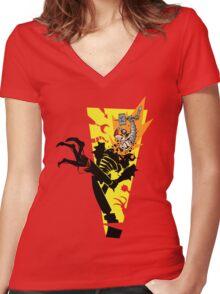 """Tankfist Steelhammer in """"Die Robot DIE!"""" Women's Fitted V-Neck T-Shirt"""