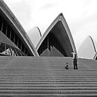Up Sydney Opera House steps by wazzateh