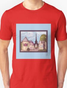 Paris Eiffel Tower inspired impressionist landscape by Kristie Hubler T-Shirt