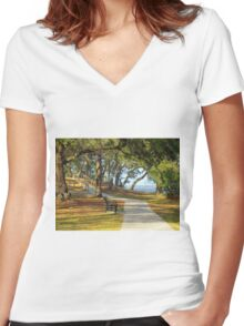 Sit By The River Women's Fitted V-Neck T-Shirt