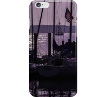 Purple sunrise Connecticut sailboat masts in silhouette iPhone Case/Skin
