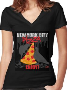 NYC PIZZA - ENJOY! Women's Fitted V-Neck T-Shirt