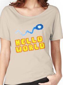 8Bit Nerd Hello Pixel World Women's Relaxed Fit T-Shirt