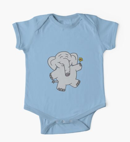 Flower Elephant One Piece - Short Sleeve