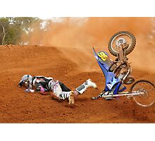 Moto x rider eating dirt Photographic Print