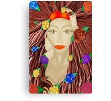 Lady and roses  Canvas Print