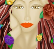 Lady and roses  Sticker