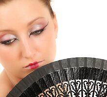 Portrait of Japanese Girl with Fan by Tom Prokop