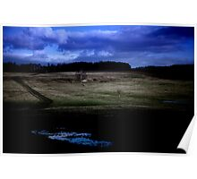 Countryside Landscape at Night Poster