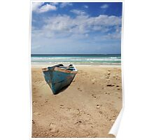 Boat on Caribbean Beach Poster