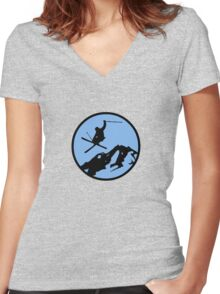 skiing 3 Women's Fitted V-Neck T-Shirt