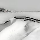FENCE AND SNOWDUNES  by Johan  Nijenhuis