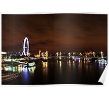 London Eye Night Landscape Poster