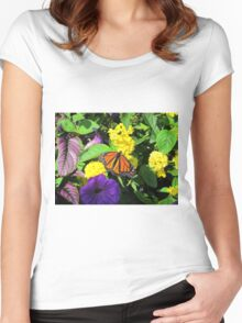 Butterfly on Flowers Women's Fitted Scoop T-Shirt