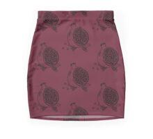 Pomegranate woodblock in BLACK Mini Skirt