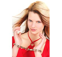Young Sexy Girl With Police Handcuffs Photographic Print