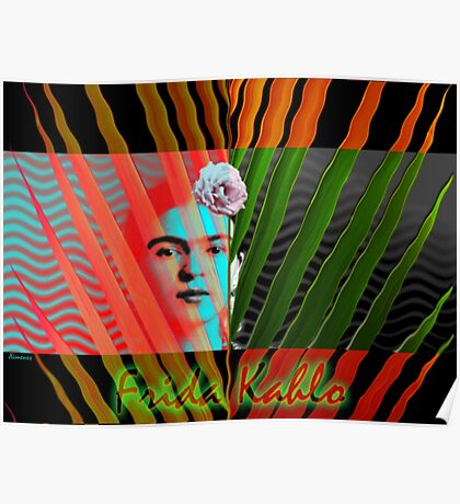 At the Beach with Frida Kahlo (Ver 3) Poster