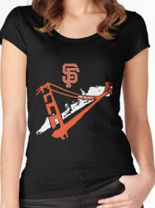 San Francisco Giants Stencil White Women's Fitted Scoop T-Shirt