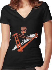San Francisco Giants Stencil White Women's Fitted V-Neck T-Shirt