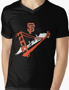 San Francisco Giants Stencil White Mens V-Neck T-Shirt