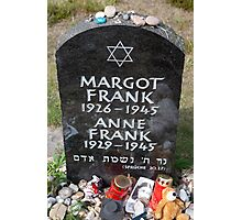 Grave of Anne Frank and her sister Margot Photographic Print