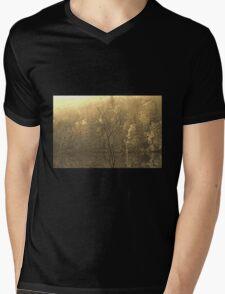 Autumn Morning at the Lake in Sepia Mens V-Neck T-Shirt