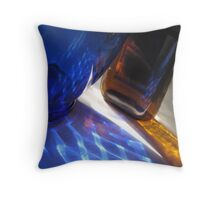 Reflections and shadows through blue and amber glass Throw Pillow