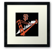 San Francisco Giants Stencil Black Background Framed Print