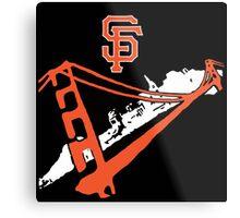 San Francisco Giants Stencil Black Background Metal Print