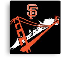 San Francisco Giants Stencil Black Background Canvas Print