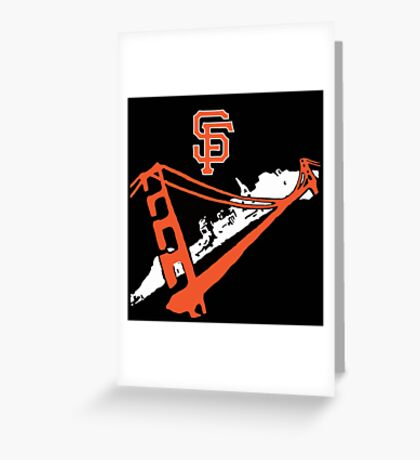San Francisco Giants Stencil Black Background Greeting Card