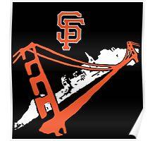 San Francisco Giants Stencil Black Background Poster