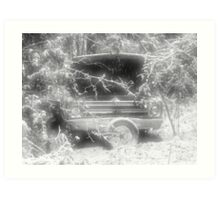 old chevy winter scene Art Print