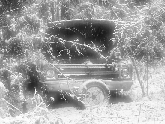 old chevy winter scene by leapdaybride