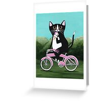 Ice Cream Bicycle Cat Greeting Card