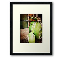 iPhoneography: Green Vespa Framed Print