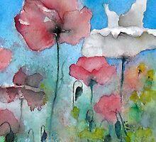 Original Flower Watercolor Painting of Poppies by feisart