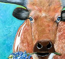 Longhorn with Bluebonnet by GroovyGal