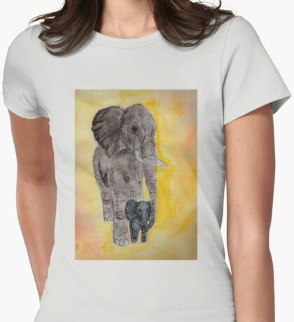 Mama and Baby Elephant Womens Fitted T-Shirt